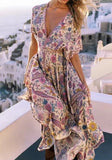 Purple Floral Draped Drawstring Plunging Neckline Bohemian Maxi Dress