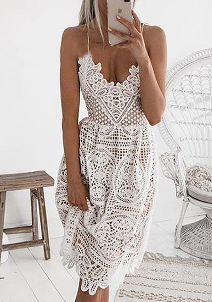 White Floral Lace Cut Out Spaghetti Strap Backless Lace-up Banquet Party Midi Dress