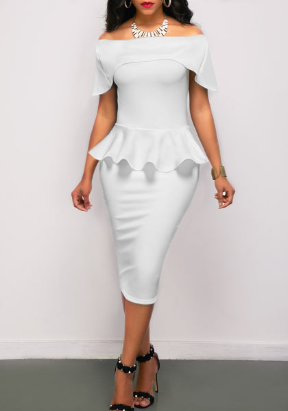 White Ruffle Zipper Bandeau Off Shoulder Backless Bodycon Pencil Midi Dress