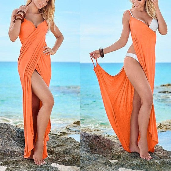 Orange Pleated Deep V Sleeveless Slim Maxi Dress