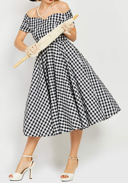 Black-White Plaid Print Boat Neck Short Sleeve Fashion Midi Dress