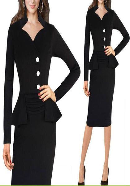 Black Single Breasted Long Sleeve Falbala Peplum Bodycon Pencil Midi Dress