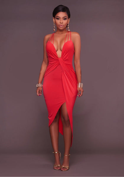 Red Spaghetti Strap Backless Cross Back Irregular Ruched Bodycon Party Midi Dress