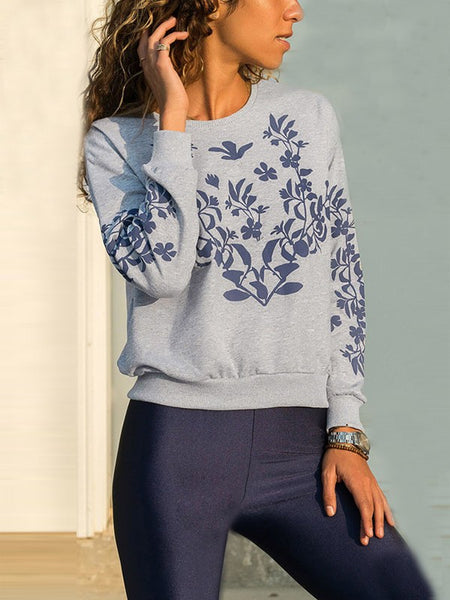 Grey Floral Print Round Neck Long Sleeve Casual Pullover Sweatshirt