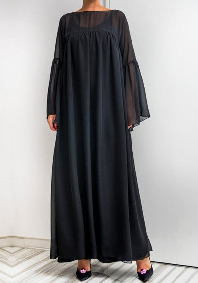 Black Draped Double-deck Round Neck Long Sleeve Maxi Dress