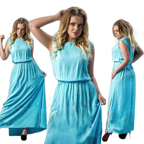 Sky Blue Pleated Tie Back Sashes Slit Plus Size Casual Maxi Dress
