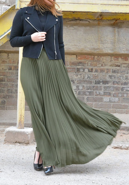Army Green Pleated Sashes Elastic Waist High Waisted Fashion Long Skirt