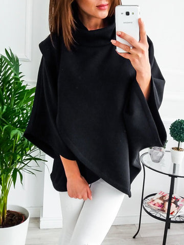 New Black Cut Out High Neck Long Sleeve Fashion Pullover Sweatshirt