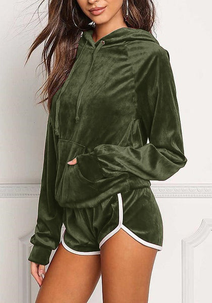 Army Green 2-in-1 Pockets Elastic Waist Casual Short Jumpsuit