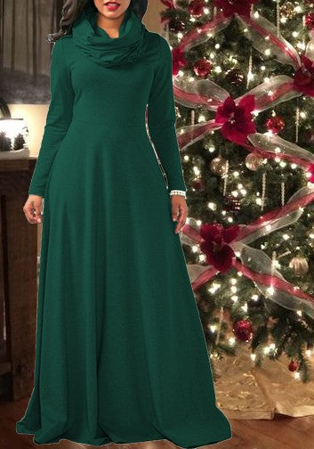 Dark Green Draped Long Sleeve Cowl Neck Elegant Maxi Dress