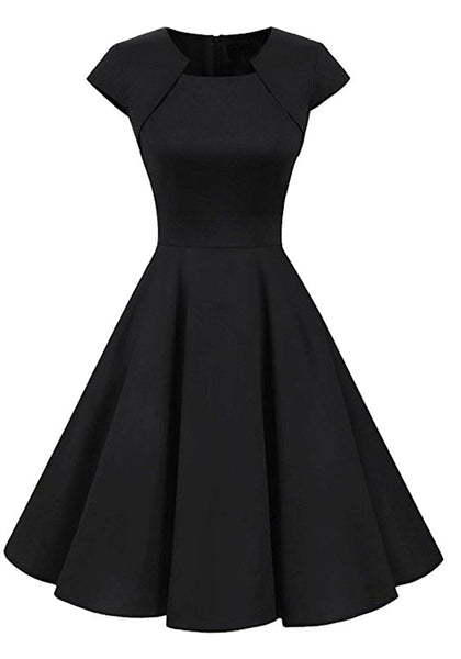 Black Irregular Draped Round Neck Long Sleeve Midi Dress