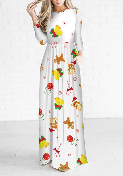 White Floral Draped Round Neck Long Sleeve Christmas Cute Maxi Dress