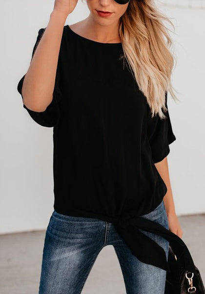 Black Cut Out Bow Round Neck Fashion T-Shirt