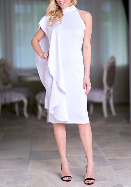 White Ruffle Irregular V-neck Band Collar Bodycon Banquet Formal Party Midi Dress