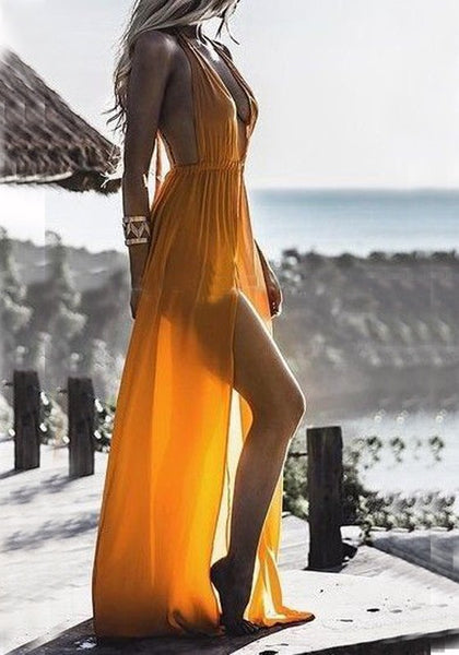 Yellow Draped Slit Spaghetti Strap Backless Deep V-neck Flowy Bohemian Party Maxi Dress