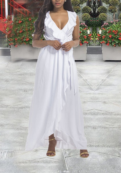 White Irregular Ruffle Slit High-Low Plus Size Banquet Elegant Party Maxi Dress