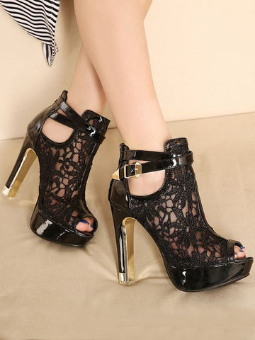 Black Piscine Mouth Chunky Lace Formal Fashion High-Heeled Sandals