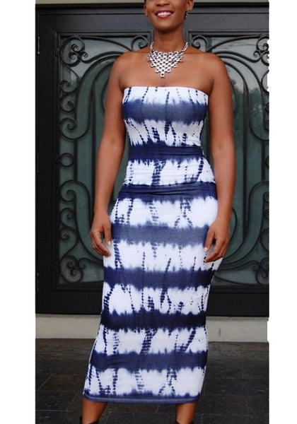 Blue Striped Bodycon Bandeau Off Shoulder Backless Bohemian Beach Maxi Dress