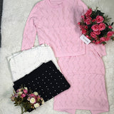 Pink Plain Pearl 2-in-1 Long Sleeve Fashion Midi Dress