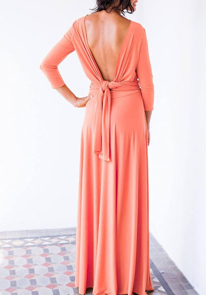 Pink Cut Out Backless Draped Long Sleeve Elegant Cocktail Party Maxi Dress