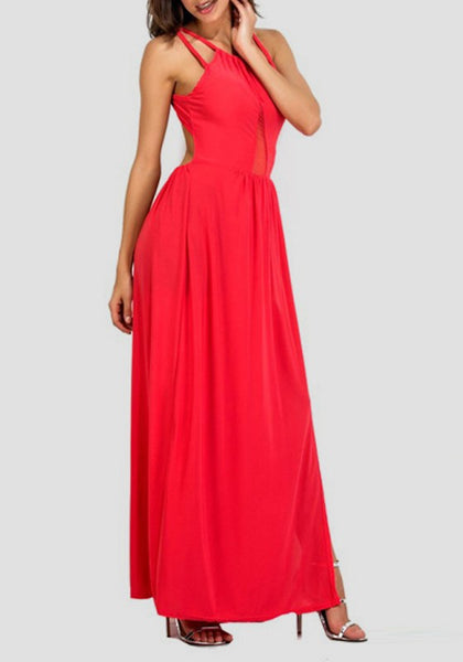 Red Patchwork Irregular Grenadine Backless Sleeveless Maxi Dress