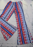 Blue Tribal Print High Waisted Party Bohemian Wide Leg Long Pants