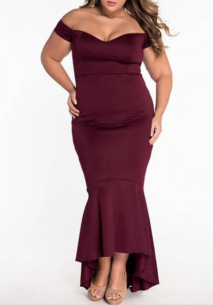 Burgundy Irregular Bandeau Off Shoulder Backless Mermaid Prom Evening Party Maxi Dress