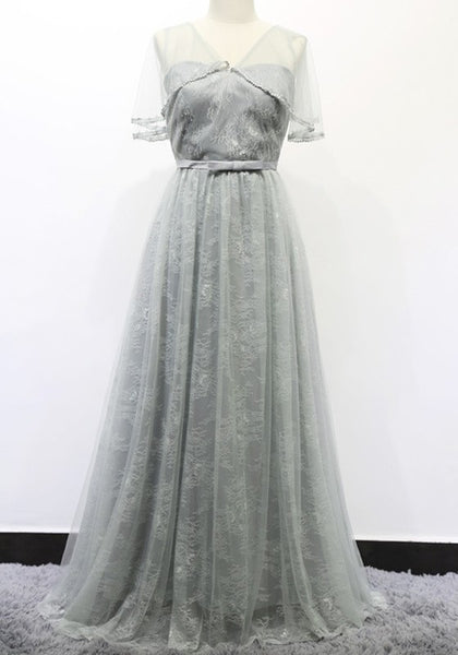 Grey Patchwork Lace Tie Back Grenadine Bowknot Elegant Maxi Dress