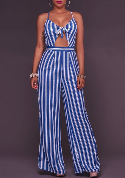Dark Blue Striped Bowknot Cut Out Spaghetti Strap High Waisted Long Jumpsuit