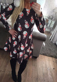 Black Cartoon Christmas Snowman Print Draped A-line Long Sleeve Cute Midi Dress