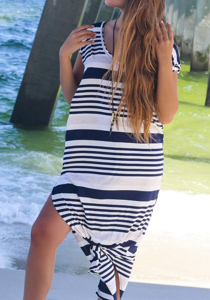 White Striped Draped Side Slit V-neck Short Sleeve Maxi Dress
