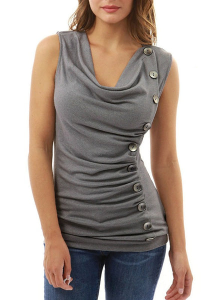 Grey Plain Buttons Collarless Fashion Slim Knit T-Shirt