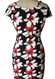Black Floral Condole Belt V-neck Short Sleeve Elegant Midi Dress