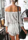 White Striped Ruffle Cut Out Drawstring Boat Neck Fashion Short Jumpsuit