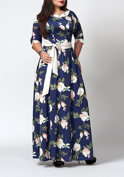 Blue Floral Sashes Draped Banquet Plus Size Elegant Party Maxi Dress