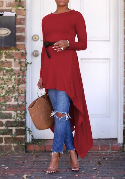 Burgundy Draped Belt Swallowtail High-low Round Neck Long Sleeve Casual Maxi Dress