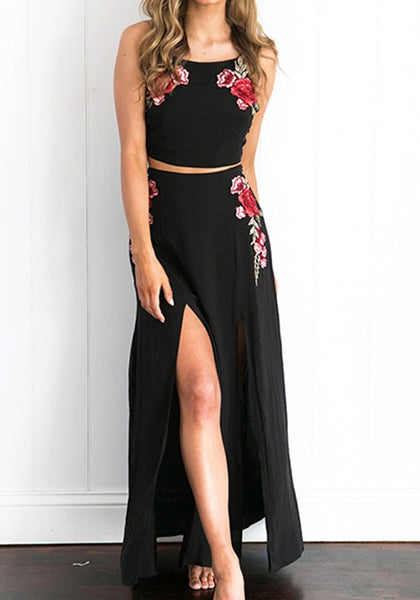Black Floral Embroidery Draped Slit Spaghetti Strap Backless Elegant Party Maxi Dress