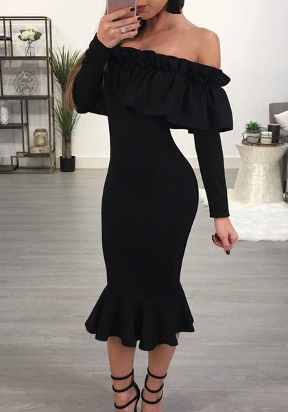 Black Ruffle Bandeau Mermaid Backless Off Shoulder Banquet Elegant Bodycon Midi Dress