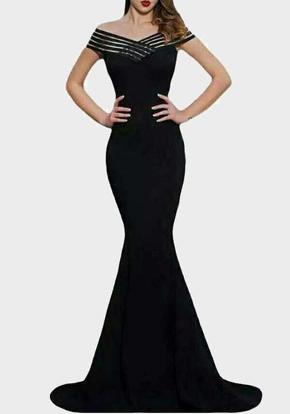 Black Boat Neck Off Shoulder Mermaid Elegant Homecoming Party Maxi Dress