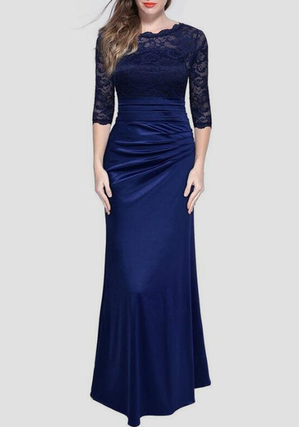 Sapphire Blue Patchwork Lace Draped Round Neck Elegant Maxi Dress