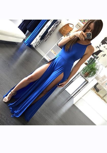 Blue Condole Belt Side Slit Round Neck Maxi Dress