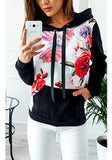 Black Flowers Drawstring Pockets Hooded Casual Pullover Sweatshirt