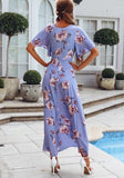 Purple Floral Irregular Draped Side Slit High-low Deep V-neck Flowy Bohemian Maxi Dress