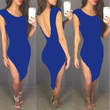 Blue Irregular Round Neck Cap Sleeve Side Slit Backless Bodycon Midi Dress
