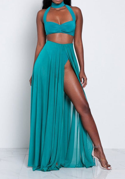 Sky Blue Zipper Draped Side Slit High Neck Two Piece Bohemian Maxi Dress