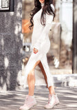 White Cut Out High Neck Long Sleeve Fashion Midi Dress