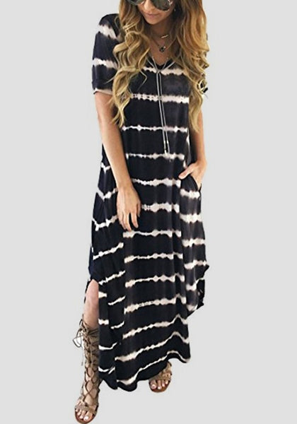 Black-White Striped Pockets Side Slit V-neck Casual Maxi Dress
