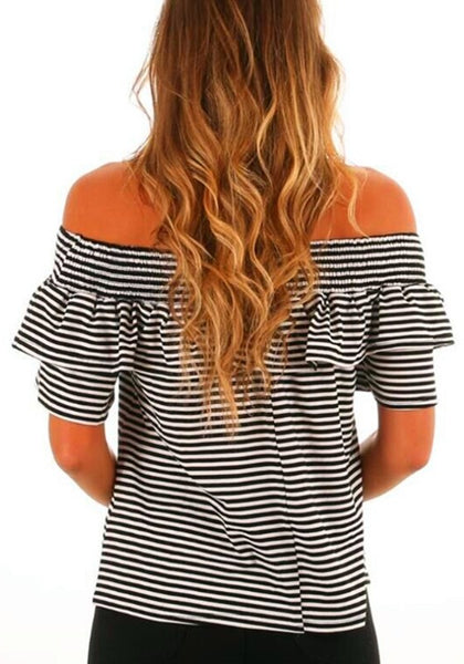 Black-White Striped Ruffle Off Shoulder Backless Sweet Going out T-Shirt