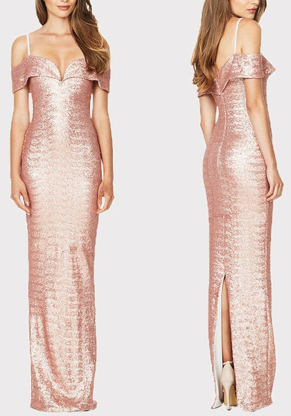 Champagne Sequin Back Slit Off Shoulder Spaghetti Strap Banquet Elegant Party Maxi Dress