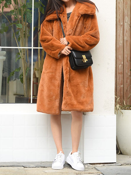 Brown Patchwork Faux Fur Pockets Buttons Turndown Collar Fashion Outerwear